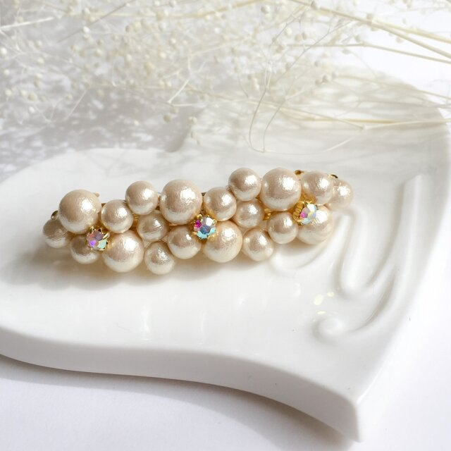cotton pearl barretteの画像1枚目