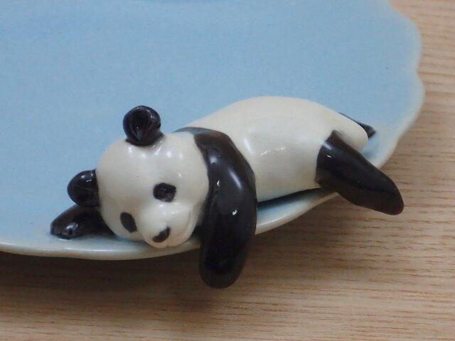 水青爆睡大熊猫輪花小皿−Qの画像1枚目