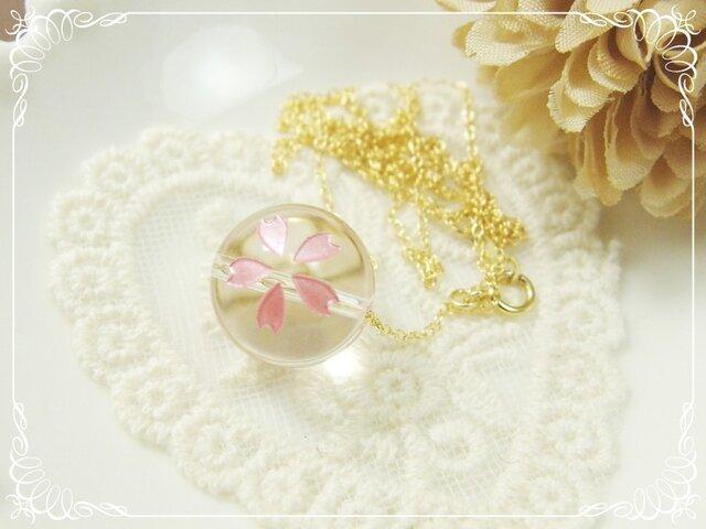 *K14GF***N10*高品質水晶AAA(大)☆桜ロングネックレス(60cm)の画像1枚目