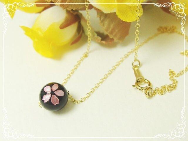 *感謝価格*K14GF**N74*高品質オニキスAAA☆桜ネックレスの画像1枚目