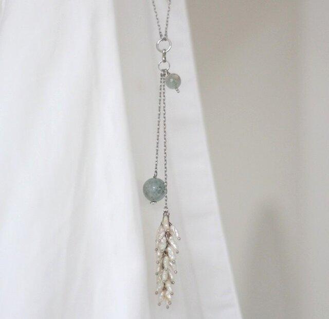 アクアマリンと淡水パールフリンジのネックレスの画像1枚目