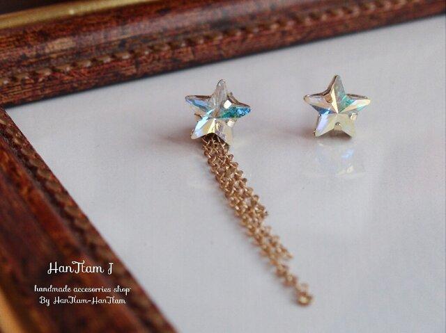 【HanTtam J】 2way♥スワロフスキー星とチェーンのアシンメトリーピアスの画像1枚目
