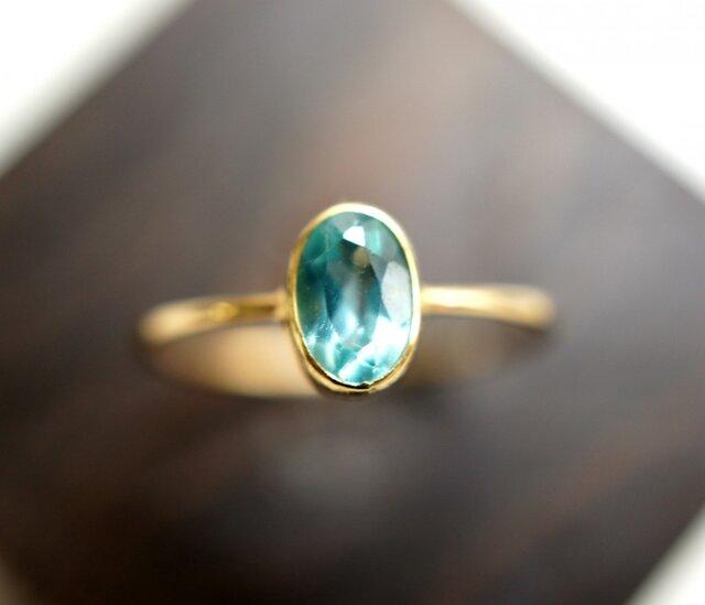 K18ブルーグリーンアパタイトのリング ~Geraldineの画像1枚目