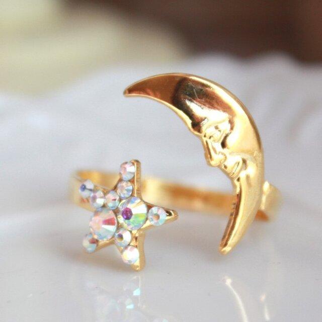 【送料無料】三日月と星のリング【フリーサイズ指輪】 R-399の画像1枚目