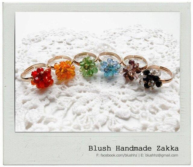 Blush Handmade Zakka:花クリスタルビーズ調節可能な金メッキリングの画像1枚目