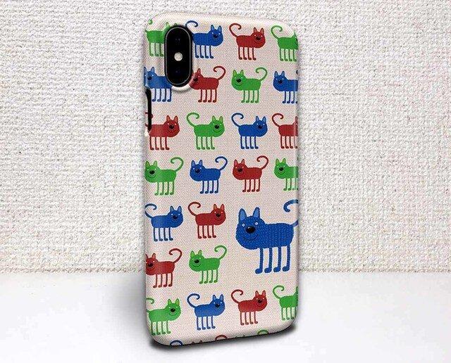 iphone ハードケース iPhoneX iphone8 iphone8 plus iphone7 猫 赤猫・緑猫・青猫の画像1枚目