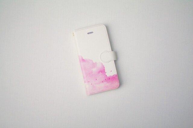 [受注制作] 手帳型iPhoneケース「赤い、雲」の画像1枚目