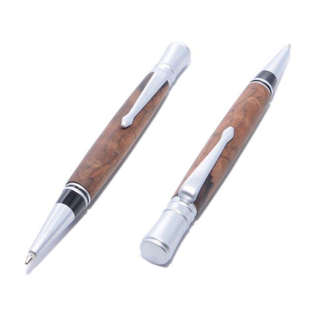 木製の回転式ボールペン(ココボロ;サテン・クロムのメッキ)(EX-SC-CO)の画像1枚目