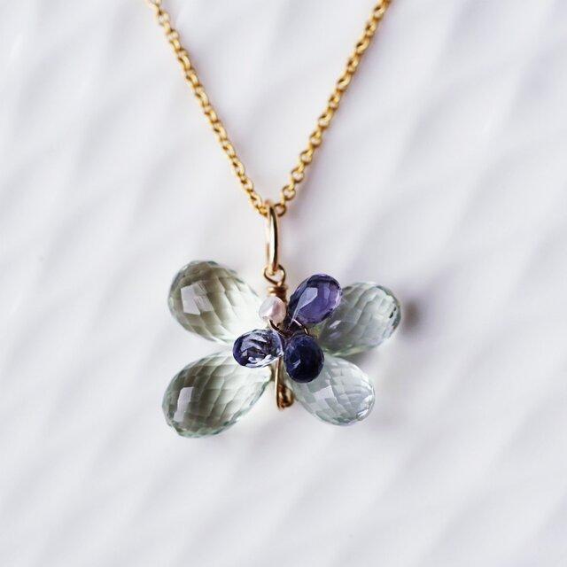 グリーンアメジストとアイオライトのお花ネックレス ~Philippaの画像1枚目