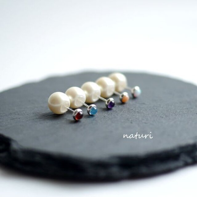 【noix】sv925 gemstone pierce with pearl catches (2pcs)の画像1枚目