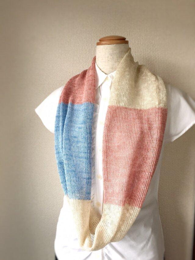 コットンとリネンの機械編みスヌード ピンク×ライトブルーの画像1枚目