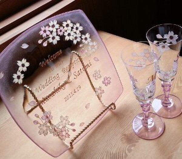 【ウェディング】【結婚祝いギフト】【2人の記念日】桜ペアシャンパングラスの画像1枚目