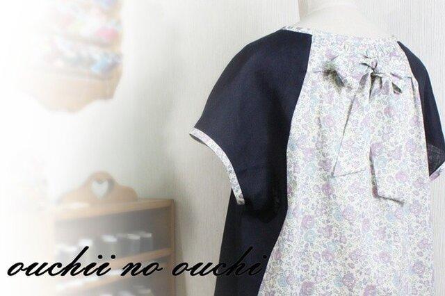 リバティ後ろリボン&リネン100 フレンチ袖プルオーバーの画像1枚目