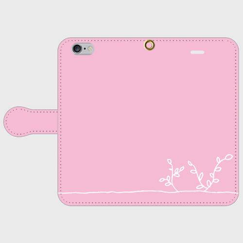 【送料無料】手帳型スマホケース 芽吹き ピンクの画像1枚目
