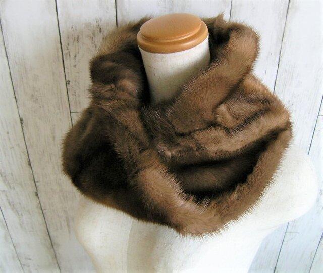 ¶ new antique fur ¶ 濃淡組み合わせパステルミンクnejiriスヌード「lexa」の画像1枚目