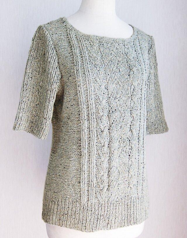 ☆在庫セール☆ シルク混ツイードヤーンの五分袖ニットプルオーバー(グレー)の画像1枚目