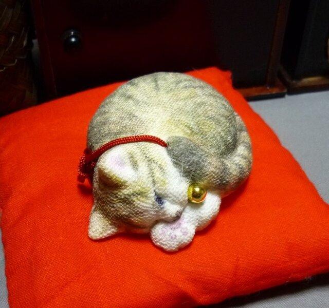 アンモニャイト キジトラ猫さん 座布団つき ラビママ様ご予約品の画像1枚目