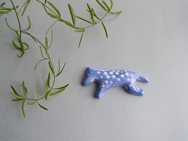 UMA 陶器ブローチ[ブルー]の画像1枚目