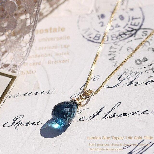 #046N★宝石質ロンドンブルートパーズAAAの一粒ネックレス14kGFの画像1枚目
