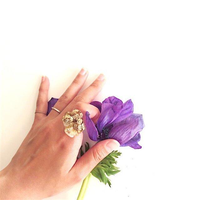 シトリン×ヒノキの実 リング citrine× hinoki cone scale ringの画像1枚目