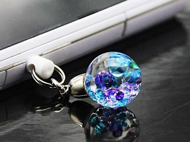 Bijou glass Ball ストラップorイヤホンジャック ~アイスブルー系パープルクリアカラー~の画像1枚目
