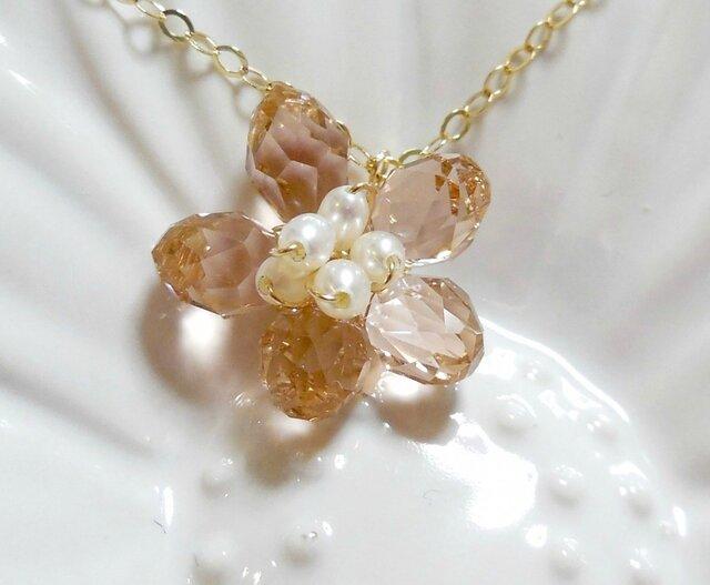 ヴィンテージローズスワロフスキーの桜ゴールドネックレス 14kgf Sakura Vintage Roseの画像1枚目