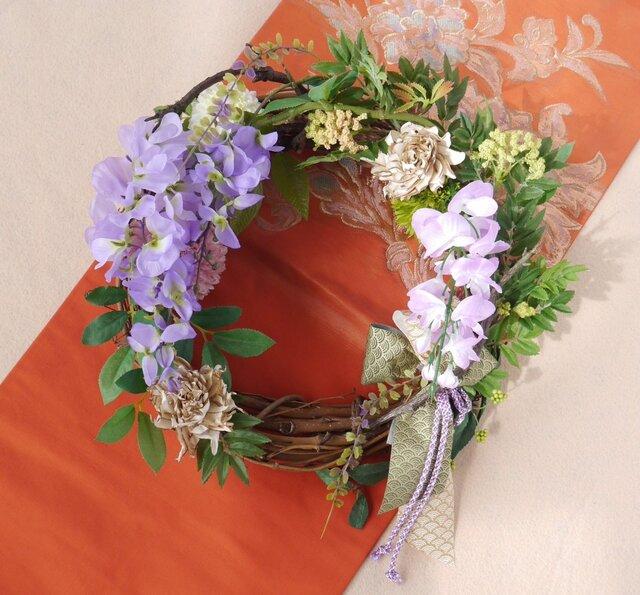 藤の花のリースの画像1枚目