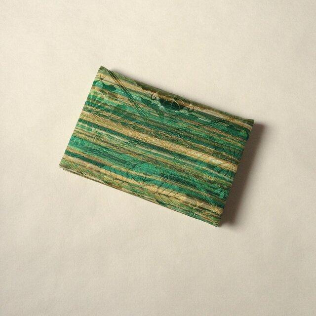 絹手染カード入れ(横・緑茶系)の画像1枚目