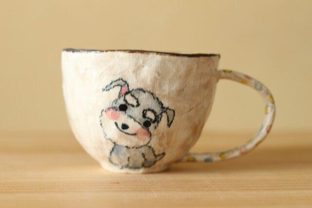 粉引き手びねりミニチュアシュナウザーのカップ。の画像1枚目