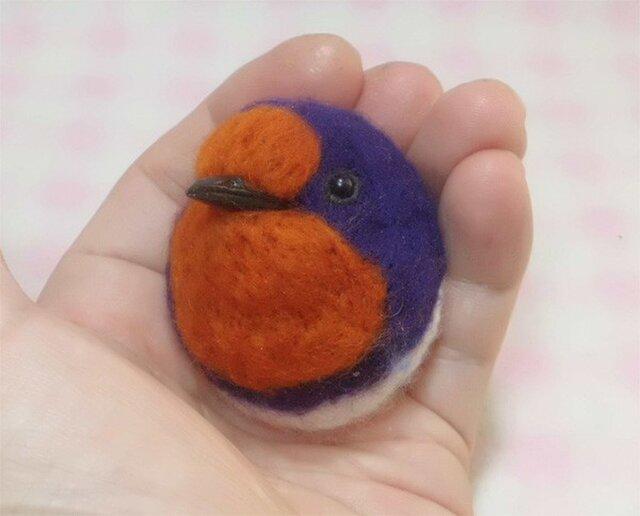 ツバメ☆選べる2タイプ☆(Aマグネット・Bクリップ付ブローチピン) ころころ丸顔♪ 羊毛の小鳥 【受注製作】の画像1枚目