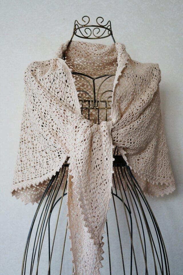 (再販)シルク混紡糸の台形ストール(ベージュ)の画像1枚目