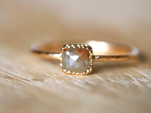 ご予約済みGray & Red Square Diamond Ringの画像1枚目