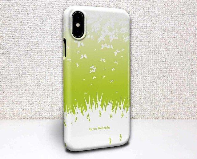 iphone ハードケース iPhoneX iphone8 iphone8 plus iphone7 蝶 グリーン・バタフライの画像1枚目