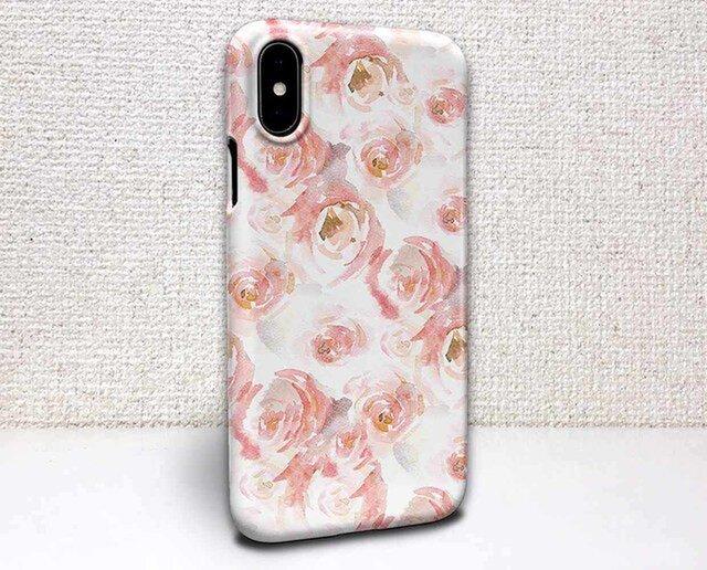 iphone ハードケース iPhoneX iphone8 iphone8 plus 花柄 ウォーターカラーのバラの画像1枚目