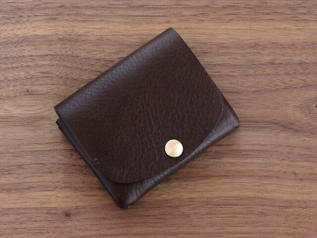 イタリア製牛革の二つ折り財布1 / チョコ※受注製作の画像1枚目