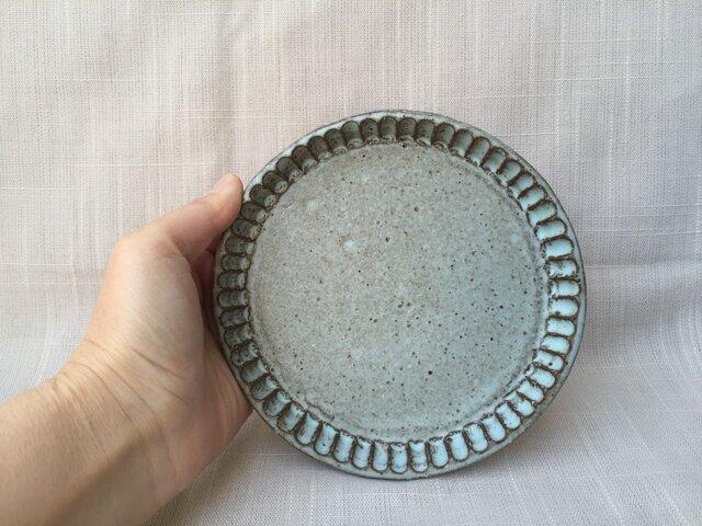 青の丸皿 細しのぎ(小)の画像1枚目