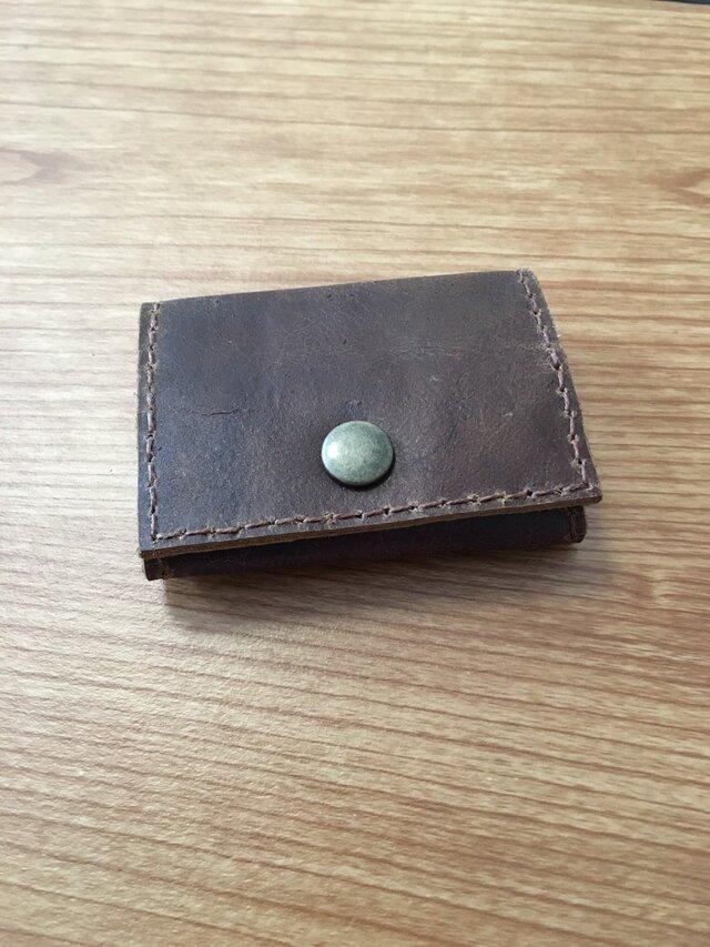 オイルレザーのボックス型コインケースの画像1枚目