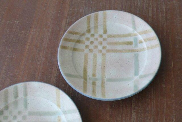 リム付5.5寸皿 釉彩格子 黄の画像1枚目