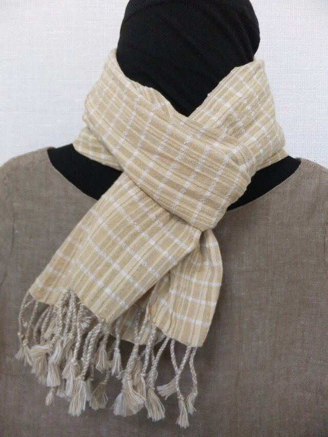 オーガニックコットン草木染手織りマフラーの画像1枚目