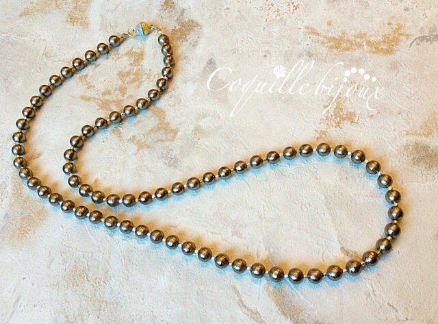 Noble*brownコットンパール(8mm珠)コンビカラーマグネットロングネックレスの画像1枚目