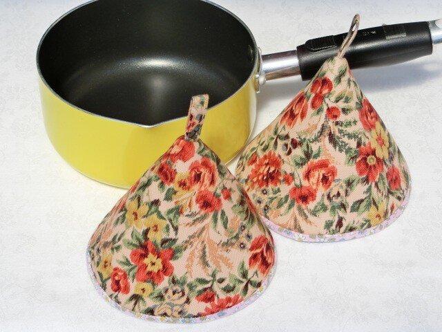 鍋つかみ 三角つまみ ゴブラン織り風フラワー×ピンク花柄2個組 の画像1枚目