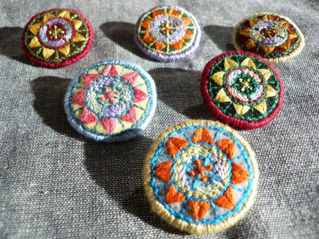 レトロ刺繍ブローチ(ピンク3)の画像1枚目