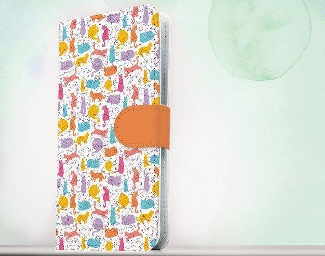 全機種対応 手帳型 スマホケース iPhoneXs iPhone9 猫 毛糸と猫のシームレスパターン・パート3の画像1枚目