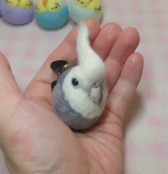 ☆選べる2タイプ☆ コロコロ♪丸顔 羊毛の小鳥 オカメインコ・WF(ホワイトフェイス) の画像1枚目