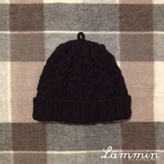 ✴︎m様専用✴︎黒いアラン模様のニット帽の画像1枚目