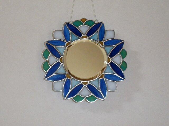 ステンドグラスミラー 万華鏡ブルーの画像1枚目