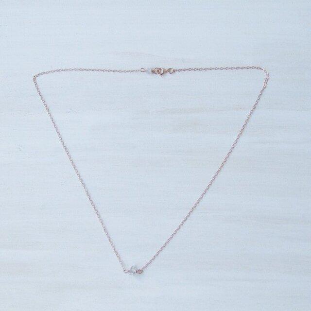 14kgf(ローズ)ネックレス♡1粒ハーキマーダイアモンドの画像1枚目