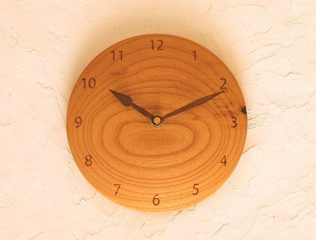 掛け時計 丸 ケヤキ材26の画像1枚目