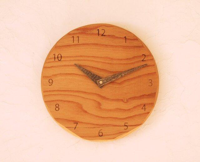 掛け時計 丸 けやき材33の画像1枚目