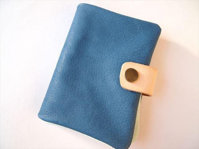B7【定番ブルー】ぶた革やわらか手帳カバー【受注生産】レザー1615の画像1枚目